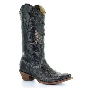 Corral Boots Black Vintage Lizard Overlay